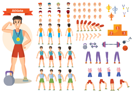 Young strong man athlete, weightlifter or bodybuilder in sportswear illustration. Character creation set. Different body types, emotions, hairstyles, hands, sports equipment. Build your design