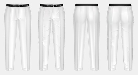 realistic pair of white pants with black belt, one clean and ironed, other crumpled, isolated on background. Casual wear, unisex trousers, mockup for your design, before and after ironing Imagens