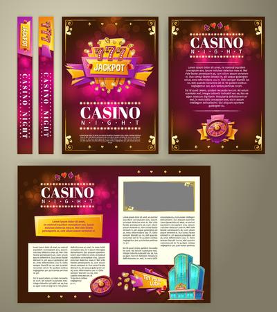 casino flyer, cartoon banner, achtergrond met vintage embleem in de vorm van een scorebord gokautomaat, gaming roulette en ruimte voor uw tekst. Affiche voor reclame voor casino, nachtclub