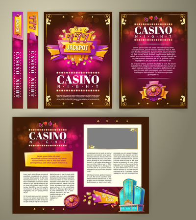 casino flyer, cartoon banner, background with vintage emblem in form of scoreboard slot machine, gaming roulette and space for your text. Poster for advertising casino, night club Stock Photo