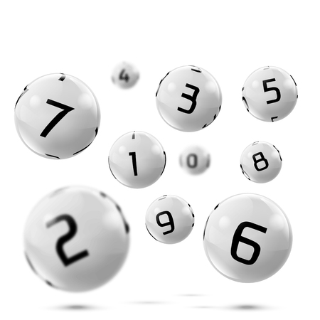 lotto white balls with numbers. Falling lottery bingo gambling spheres. Snooker, billiard sport game realistic isolated illustration with reflections on white background.