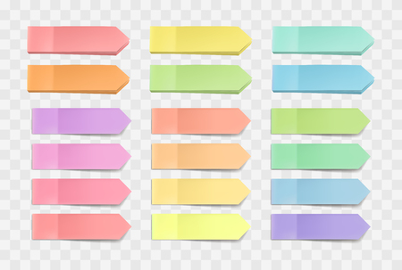 colorful bright sticky notes, pack of stickers with shadows isolated on a transparent background. Multicolor paper adhesive tape, rectangle empty office blanks, reminder lists. Great for banner