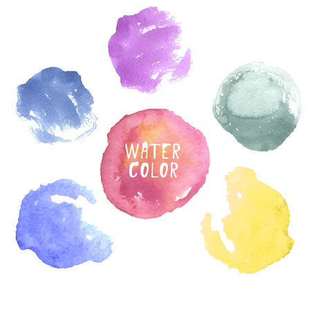 colorful hand drawn watercolor circles, dots, splashes, spots on white background. Abstract water colour paint texture decorative blobs for promotion, networking, web, advertisement
