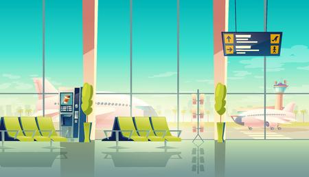 Salle d'attente de l'aéroport de vecteur - grandes fenêtres, sièges et avions sur l'aérodrome. Concept de voyage. Terminal international vide, salon avec chaises et écran numérique, horaires des départs et des arrivées