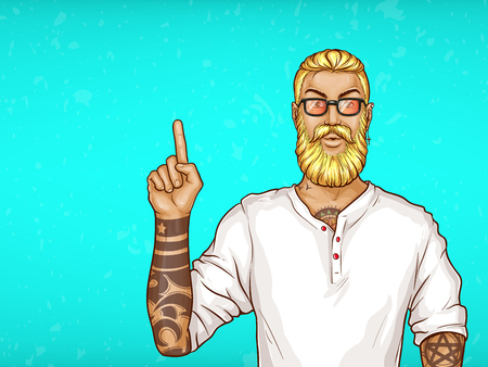 Vector pop art blonde haired man with beard, earring in white shirt and glasses. Guy with tattoos points with finger at sales, discounts. Character isolated on blue background. Sale, ad poster, banner