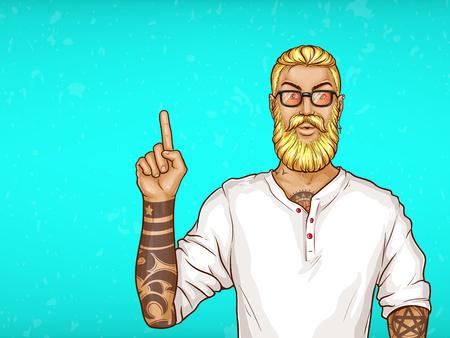 Vector pop art homme aux cheveux blonds avec barbe, boucle d'oreille en chemise blanche et lunettes. Guy avec des points de tatouages avec le doigt lors des ventes, des réductions. Caractère isolé sur fond bleu. Vente, affiche publicitaire, bannière