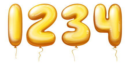 Vector 3d realistic inflatable balloons in numbers from one to four. Golden rubber or foil product with helium isolated on white background for different celebrations - anniversary, birthday. Illustration