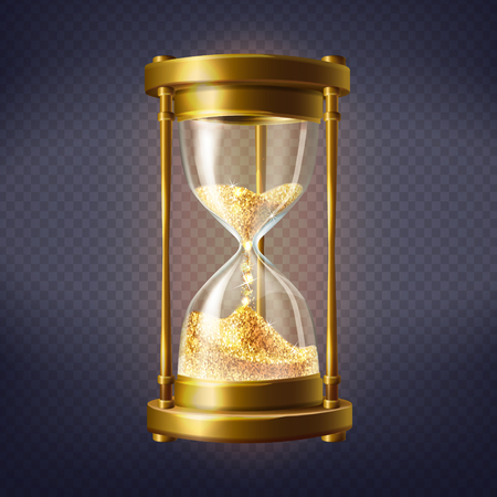 Vector realistische zandloper, antieke klok met gouden zand binnen, geïsoleerd op transparante achtergrond. Sandglass is een apparaat dat wordt gebruikt om uren en minuten te meten. Tijd is goud, concept illustratie
