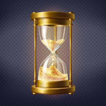 Wektor realistyczne klepsydry, antyczny zegar ze złotym piaskiem wewnątrz, na przezroczystym tle. Sandglass to urządzenie służące do odmierzania godzin i minut. Czas to złoto, ilustracja koncepcyjna