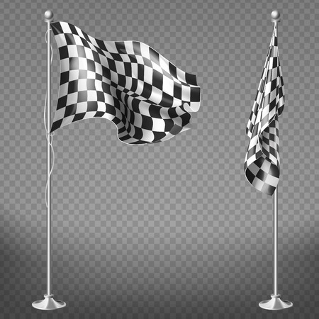 Vector realistic set of two racing flags on steel poles isolated on transparent background. Checkered waving canvas to check start or finish of car races, rally. Mockup for your design 일러스트