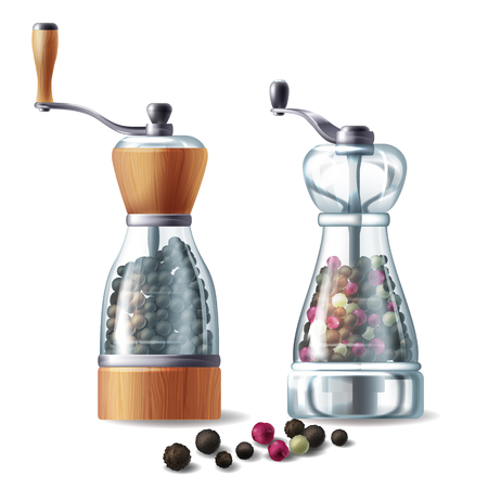 Vector realistic set of pepper mills with metal handles, glass containers filled with various peppercorns, isolated on white background. Kitchen equipment for grind and prepare spicy seasoning