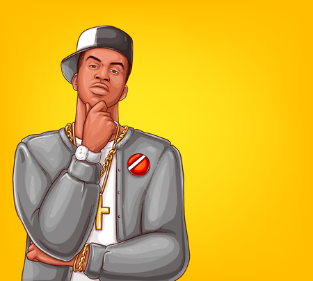Vector pop art rap, hip-hop male character isolated on yellow background. Afro-American singer in grey jacket, blazer with gold bling, watch. Modern gangsta man, entertainment concept 版權商用圖片 - 109798668