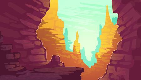 Ilustración de dibujos animados de vector del Gran Cañón, parque nacional del estado de Arizona en el río Colorado. Montañas de arenisca roja, horizonte con rocas de arena y cielo, fondo de paisaje de naturaleza