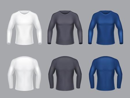 Conjunto realista de vector de camisas en blanco con mangas largas para hombres, ropa casual masculina, sudaderas para entrenamientos deportivos, aislado sobre fondo gris. Maqueta para diseño de ropa, vista frontal y posterior.