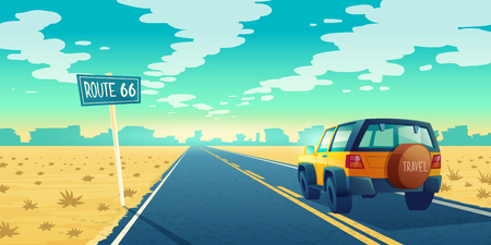 Vector cartoon landscape of barren desert with long highway. Car rides along asphalt road to canyon. Route 66, roadway with pointer, skyline with sandy wasteland. Travel concept background