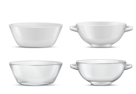 Vector 3d realistic set transparent tableware or white porcelain tureens with handles Glass or china dishes for different food. Plates for soup, salad with shadows, crystal glassware with reflections. 일러스트