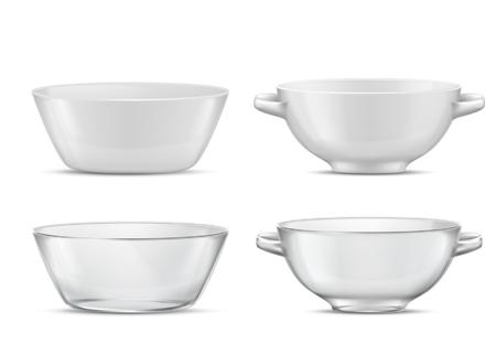 Vector 3d realista juego de vajilla transparente o soperas de porcelana blanca con asas Platos de vidrio o porcelana para diferentes alimentos. Platos para sopa, ensalada con sombras, cristalería con reflejos. Ilustración de vector