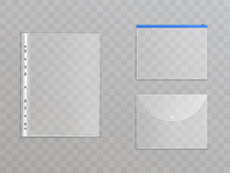 Fichiers en plastique transparent de vecteur - ensemble de fournitures de bureau. Dossiers cellophane avec fermeture éclair, bouton pour protéger les documents. Collection de papeterie translucide isolée sur fond.