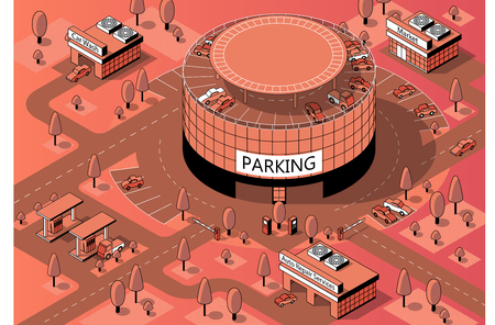 Vector 3d isometric territory for cars with round multi-storey parking. Vehicles on covered building, urban garage in orange colors, made in black thin lines. Architecture concept, park with trees. Иллюстрация