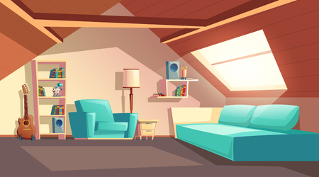 Vector cartoon background with empty garret room, modern loft apartment under wooden roof, attic interior. Cozy cockloft with furniture, big sofa, shelves with books, loudspeakers, floor lamp, guitar Illustration