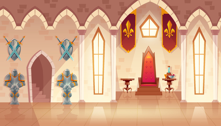 Vector castle hall with windows. Interior of royal ballroom with throne, table and guards in knight armor. Luxury furniture with flags in medieval palace. Fantasy, fairy tale or game background. Vettoriali