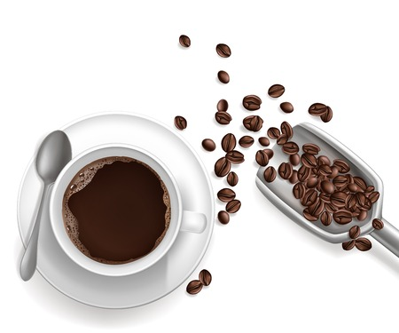 Vector 3d realistic cup of coffee on the saucer with metal spoon. Beans in grey scoop isolated on white background. Top view of hot arabica drink, americano. Mock up, template for ad poster, banner.