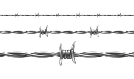 Barbed wire vector illustration, horizontal seamless pattern with twisted barbwire isolated on background. Metal protective barrier with sharp barbs for industrial and agricultural fencings Vector Illustration