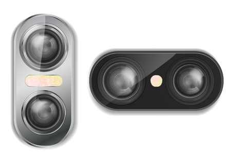 Realistische Doppelkamera des Vektors 3d für Smartphone mit zwei Linsen und Blitz, lokalisiert auf Hintergrund. Modernes optisches Gerät, Modul für Mobiltelefon mit verschiedenen Arten von Fotoobjektiven