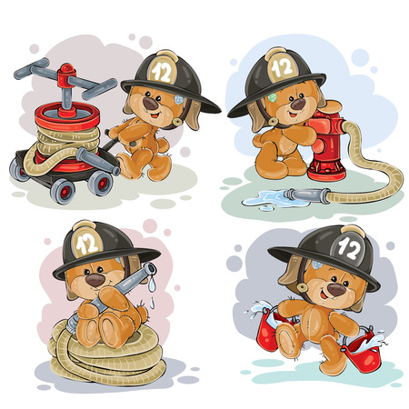 Clipart illustration of a teddy bear fireman with rescue equipment, hose, hydrant, with a bucket isolated on white. Polygraphy, design elements.