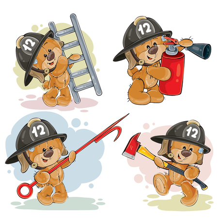 Set of teddy bears firefighters with rescue equipment, extinguisher, pike pole, ladder, axe. Cute cartoon characters with firefighting tools isolated on white background.