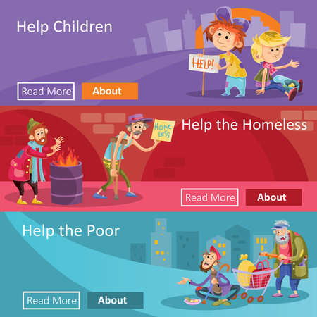 Help to homeless people illustration for social charity project web banners. Flat design of poverty charity organization for help to beggars or homeless bum and children begging alms in poverty