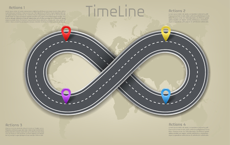 company corporate infinity sign shape car road world map milestone timeline business presentation layout infographic plan workflow pointer marks, action step. Concept template illustration