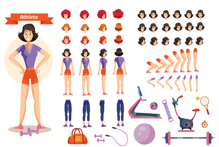Young smiling woman athlete in sportswear illustration. Character creation set in flat style. Full body in different views, emotions, hairstyles, hands, fitness equipment. Build your own design