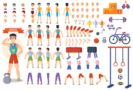 Man athlete constructor of cartoon character and gym equipment or training poses creation. Isolated constriction icons of body parts and exercise gestures, sportsman face and fitness weights Imagens