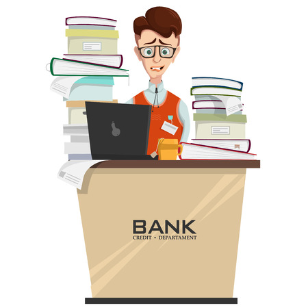 illustration of credit department manager in workplace with heap of documents and folders on table, bank employee worried about deadline. Crisis and stress at work, concept in cartoon style 写真素材