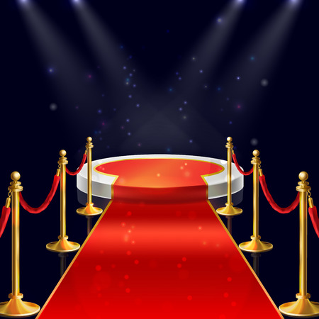 realistic illustration of white round podium with velvet carpet, red ropes and golden stanchions illuminated by spotlights. Winner pedestal, luxury stage for award ceremony on night background