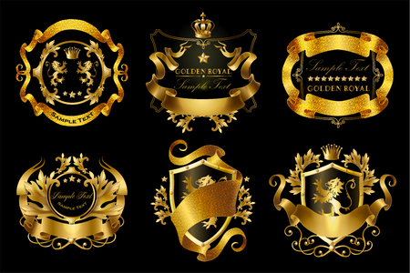 set of golden royal stickers with crowns, shields, ribbons, lions, stars isolated on black background. Luxurious emblems with heraldic ornament, premium quality labels for brand promotion