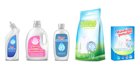 household cleaning chemicals illustration of toilet and bathroom cleaner or washing powder and detergent liquid packages mockup templates. 3D realistic isolated set of plastic bottle or box Stock Photo