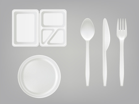 3d realistic disposable plastic lunch box with partition, plate, cutlery - spoon, fork, knife. Picnic party tableware isolated icons set on gray background. Template, mockup of eco kitchenware