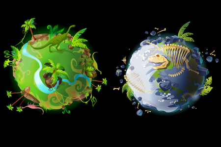 cartoon fantastic planet Earth, world evolution set. Cosmic, space element for game, timeline infographic design. Illustration green tropical plants river with dinosaur, ice Age with bones,