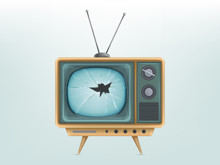 illustration of broken retro tv set, television. Injured vintage electronic video display. Concept for broadcasting, news, communication, entertainment, technology. Media icon