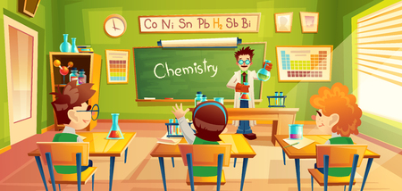 colorful background with school children in classroom at a chemistry lesson. Teacher holds flasks and makes chemical experiment for students in training room. Education concept illustration Banco de Imagens