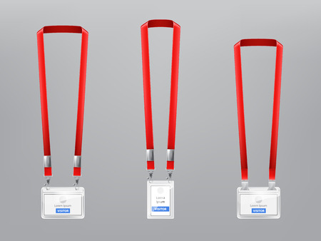 set with three realistic plastic badges, holders with metal clips and red lanyards, ID cards for presentation or conference visitors, press, media, office employees isolated on gray background