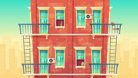 illustration of facade residential multi-storey apartment, house outside concept, private building with fire escapes. Architecture in cartoon style. Advertising, promotion background. Stock Photo