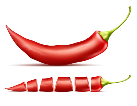 realistic illustration of red hot chili pepper, whole and sliced, isolated on background. Red pod of cayenne, traditional spicy seasoning for mexican cuisine, natural ripe vegetable for cooking
