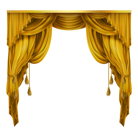silk, velvet theatrical curtain with folds, drape. Decoration element for performance, premiere. Golden elegant blinders. Great concept for presentation, announcement, show. Drapery background