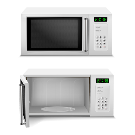 3d realistic microwave oven with digital display, front view, with open and close door isolated on background. Household appliance to heat and defrost food, for cooking, with timer and buttons Imagens