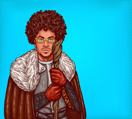 cartoon illustration of medieval magician in leather armor, with fur cloak and glasses, with a magical wooden staff in his hands. Pop art man, dressed in carnival costume of mage goes for party