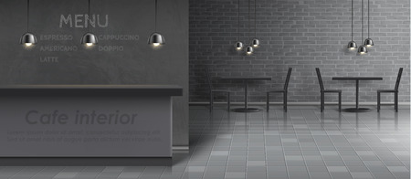 Vector mockup of cafe interior with empty bar counter, dinner tables and chairs, ceiling lamps, gray brick wall and tiled floor. Minimalist modern design for fast food restaurant, concept background