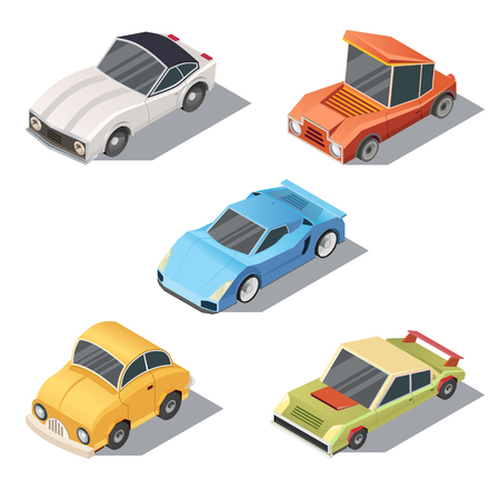set of isometric urban transportation. Private cars with shadows isolated on white background. Sedan, sport, retro, hatchback automobiles in cartoon style. Collection of city vehicles.